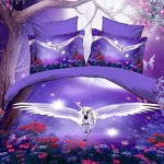 White Unicorn Purple Skin 100% Cotton Queen Size 3d Print Bedding Set (1 Duvet Cover + 1 Bed Sheet + 2 * Pillow Case)