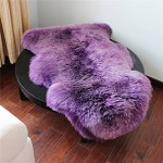 Soft Hairy Carpet Sheepskin Chair Cover Seat Pad Plain Skin Fur Plain Fluffy Area Rugs Washable Bedroom Faux Mat Purple