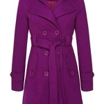OURS Women's Check Double Breasted Hooded Fleece Belted Coat with Belt (L, Purple)