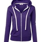 MBJ WSK193 Womens Active Soft Zip Up Fleece Hoodie Sweater Jacket L PURPLE