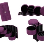 Bundle Monster 3 Tier Compartment Mini Velvet Travel Roll Up Jewelry Box Case Organizer Holder with Snap Closure – DEEP VIOLET