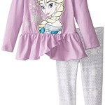 Disney Little Girls' 2 Piece Elsa Screen Print Pullover Set, Purple, 6