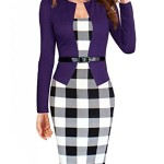 Women Long Sleeve Elegant Slim Fit Business OL Tunic Dress, Large, Purple