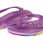 Chatties Girls Pcu Flip Flops With Rhinestone – Purple, Size 11 / 12 (More Colors and Sizes Available)