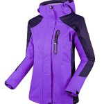Cloudy Women's Spring Waterproof Front-Zip Hooded Rain Jacket(Light Purple, 3XL)