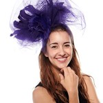 Flaunt It Feathered Fascinator Cocktail Hat with Headband, Purple