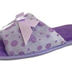 "Slipper Rack Women's ""Heart Printed"" Ultra Soft Slip-On Slippers (9, Purple)"