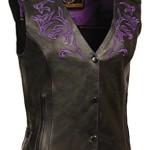 Milwaukee Women's Leather Vest (Black/Purple, X-Large)