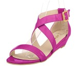 ZriEy women's Classic Ultra Comfort Sexy Low Heel Sandals Patent Leather Purple size 6.5