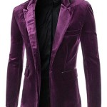 TM Men's Stylish Long Sleeve Lapel Party Suit Blazers Jacket Purple M