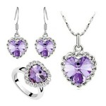 Liroyal Charm Ocean Titanic Heart Purple Pendants Necklace Fashion Crystal Jewelry Set for Women