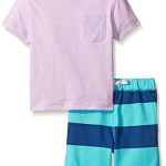 Little Boys Two Piece V-Neck Tee Shirt Set with Stripe Pull On Short Light Purple 2T