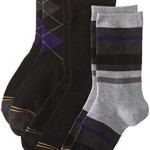 Gold Toe Big Boys' 3 Pack Fashion Dress Crew, Black Purple Argyle/Black/Stripe Grey/Heather Purple, Large