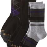 Gold Toe Big Boys' 3 Pack Fashion Dress Crew, Black Purple Argyle/Black/Stripe Grey/Heather Purple, Large