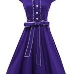 Anni Coco® Women's 1950s Cap Sleeve Swing Vintage Party Dresses Purple Large