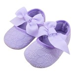 DZT1968® Baby Girl Soft Sole Bowknot Shoes Prewalker Sneakers (0~6 Months, Purple)