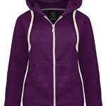 NEW LADIES WOMENS PLAIN HOODIE HOODED ZIP TOP ZIPPER SWEATSHIRT JACKET COAT Purple UK 10 / AUS 12 / US 6