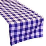 LA Linen Poly Checkered Table Runner, 14 by 108-Inch, Purple/White