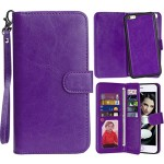 iPhone 6 Case, Vofolen® 2 in 1 iPhone 6S Case Wallet Folio Flip Leather Case Protective Shell Magnetic Detachable Slim Back Cover Card Holder Wrist Strap for Apple iPhone 6 6S 4.7 inch (Purple)