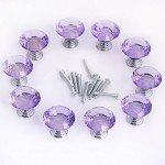 HOSL HOSL 30mm Crystal Glass Diamond Shape Cabinet Knob Drawer Pull Handle Kitchen Color Purple(Pack of 20)