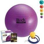 Exercise Ball With Pump (Purple 45cm) – by BodySport – Strengthen Your Core for Great Abs – Tone – Yoga – Fitness – Stability – Pilates – Free Exercise Guide Included