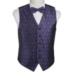 EGE1B08C-M Purple Black Paisley Microfiber Waistcoat and Pre-tied Bow Tie Elegant For Boyfriends By Epoint