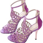 Littleboutique Crystal Studs High Heel Sandals Leather Peep Toe Strappy Sandals Party Heeled Pumps Evening Dress Shoe purple 10