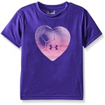 Under Armour Little Girls' Heart Beat Short Sleeve Tee, Purple Sky, 6