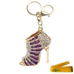 Cute Charming 3D Blingbling High Heeled Boots Sandals Pumps Shoes Shaped Enamel Crystal Rhinestone Metal Keychain Key Ring Call Phone Car Handbag Pendant Ornament Gift (Purple Sandal)
