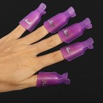 HIGHROCK 10Pcs Acrylic Nail Art UV Gel Polish Remover Wrap Cleaner Clip Caps Color:Purple