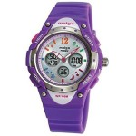 PASNEW High Quality Water-proof 100m Dual Time Unisex Child Outdoor Sport Watch Purple
