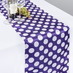 14 x 108 in. Polka Dot Satin Table Runner Purple / White