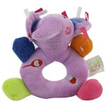 Baby's First Wrist Rattle Learning Stuffed Animal Hand Bell Plush Doll Toys for Kids Xmas Gift (Purple elephant)