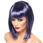 Smiffy's Women's Vamp Wig Short with Fringe, Indigo, One Size