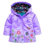 Baby Girls Kid Waterproof Hooded Coat Jacket Outwear Raincoat (Purple,3-4Y)