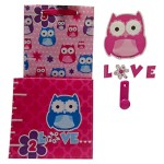 Pink and Purple Kids Owl Bedroom Decor Bundle: One Colorful Owl Growth Chart, One Pink Love Owl Decal Wall Hook