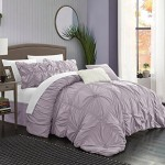Chic Home 6 Piece Halpert Floral Pinch Pleat Ruffled Designer Embellished Comforter Set, Queen, Lavender