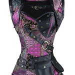 Charmian Women's Plus Size Spiral Steel Boned Steampunk Gothic Vintage Overbust Corset with Jacket and Pouches Purple XXXXXX-Large