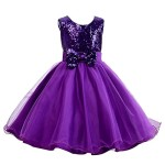 Acediscoball Girls Sequins Bowknot Flower girl Wedding Party Tulle Tutu Dress (8 US Suitable for 7-8 years old, Purple)