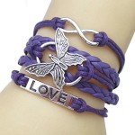 JQUEEN Butterfly Love Infinity Leather Rope Vintage Silver Plated Wrap Charm Link Bracelet Bangle
