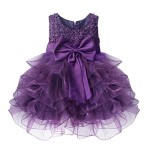 iiniim Girls Baby Princess Flower Wedding Party Christening Beading Tutu Dress (2T, Purple)