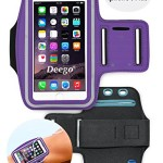 Deego Sports Armband with Built-in Screen Protect Cover for iPhone 6 Plus (5.5-Inch) and Key Holder Slot – Purple