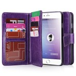 iPhone 6 Case, iPhone 6 Wallet Case (4.7 inch), BENTOBEN Multi-Card Wallet Case Flip Folio PU Leather Wallet Bumper Case Hard Shell Skin Protective Cover for iPhone 6 4.7 inch -Purple