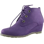 Women's DailyShoes Fashion Lace Up Round Toe Ankle High Oxford Wedge Bootie, 8