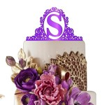 Sugar Yeti Made In USA Personalized Birthday Cake Topper Initial in Mirror #50 Purple Mirror
