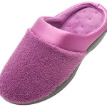 ISOTONER Women's Micro Terry PillowStep Satin Cuff Clog Violet 7.5-8