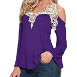 ZANZEA Ladies Off Shoulder Lace Crochet Hollow Long Sleeve Loose Blouse Tops (6, Purple)