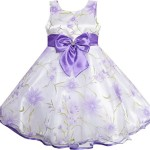 Sunny Fashion Big Girls 3 Layers Dress Diamond Bow Tie Girl, Purple, 7-8