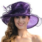 Women Satin Church Christening Derby Kentucky Wedding Formal Party Hat Ss035 (9 Colors) (Violet)