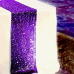 12″ Long X108″ Wide Purple Sparkle Sequin Runner, Sequin Taffeta Sequin Beaded Runner
